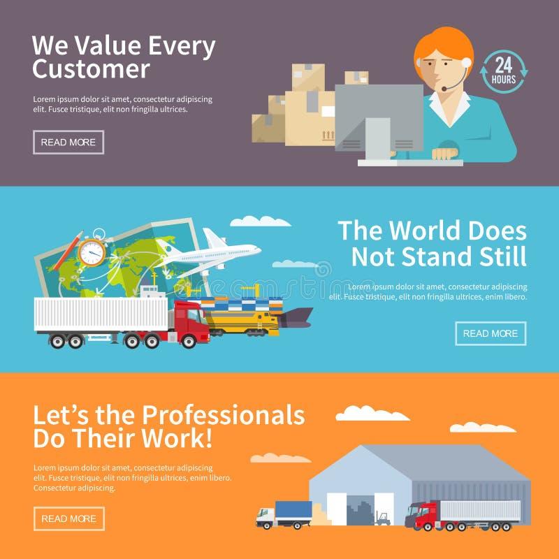 Las banderas planas coloridas de la logística fijaron para su negocio, sitios web, presentaciones, haciendo publicidad del etc Il stock de ilustración