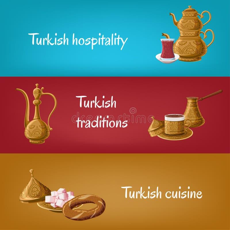 Las banderas turísticas turcas con los utensilios de cobre amarillo doblan la tetera, vidrio del té, locum, jarra, café, simit stock de ilustración