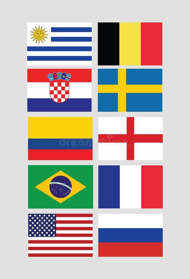Las banderas vector para el torneo internacional del campeonato del mundo stock de ilustración