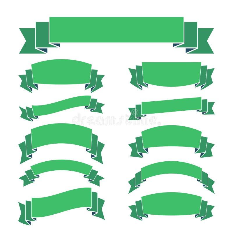 Las banderas verdes de la cinta fijaron el espacio en blanco hermoso ilustración del vector
