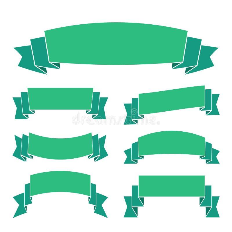 Las banderas verdes de la cinta fijaron hermoso ilustración del vector