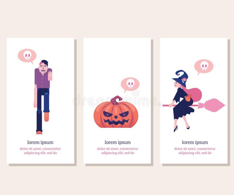 Las banderas verticales de Halloween fijaron con símbolos tradicionales del día de fiesta en el ejemplo plano del vector stock de ilustración