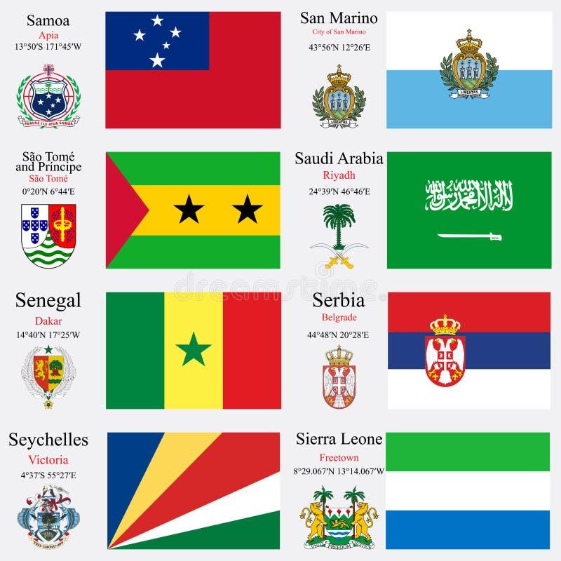 Las banderas y los capitales del mundo fijaron 21 stock de ilustración