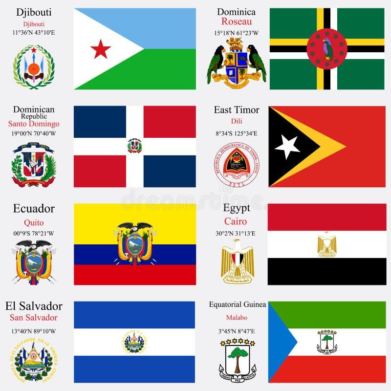 Las banderas y los capitales del mundo fijaron 7 stock de ilustración