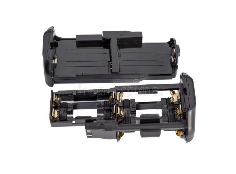 Las baterías AA y Li-Po de los adaptadores para la batería agarran DSLR moderno fotografía de archivo