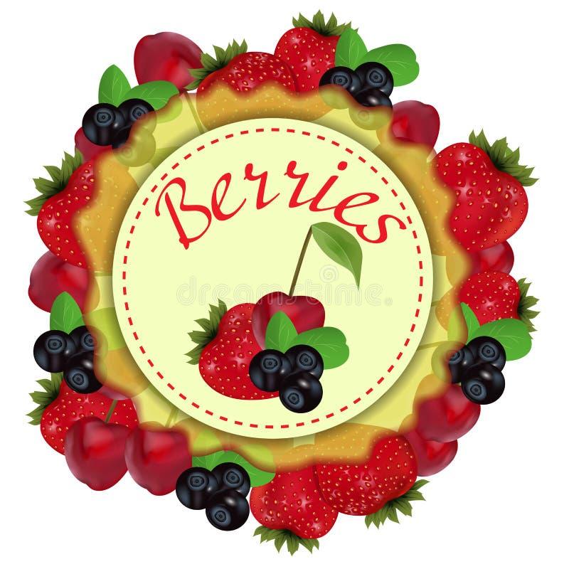 Las bayas etiquetan con la fresa, la cereza y el arándano Vector libre illustration
