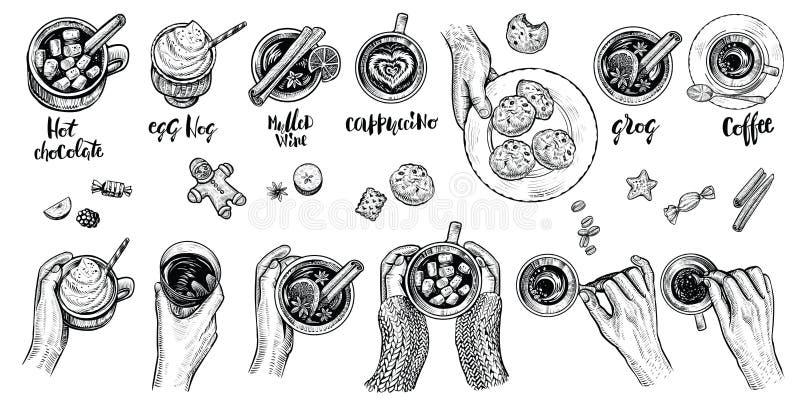 Las bebidas calientes con sostenerse dan la visión superior, ejemplo del vector Sistema de bebidas dibujadas mano ilustración del vector
