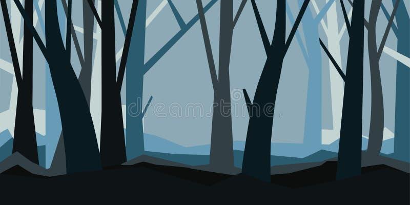 Las bez liści w półmroku misty krajobrazu Horyzontalna wektorowa ilustracja noc las w mgle royalty ilustracja