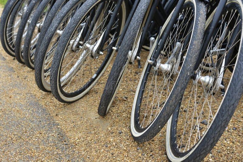 Las bicis se colocan en fila en un aparcamiento imágenes de archivo libres de regalías