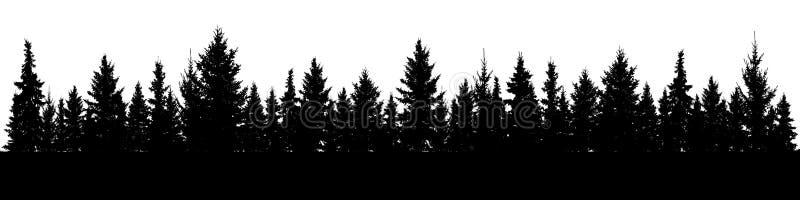 Las Bożenarodzeniowa jedlinowych drzew sylwetka Iglasta świerkowa panorama Park wiecznozielony drewno ilustracja wektor