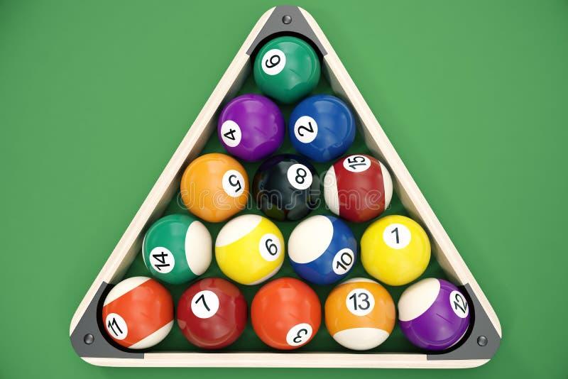 las bolas de billar del ejemplo 3D arreglaron en un triángulo visto desde arriba, visión superior Billar, juego de la piscina, co stock de ilustración