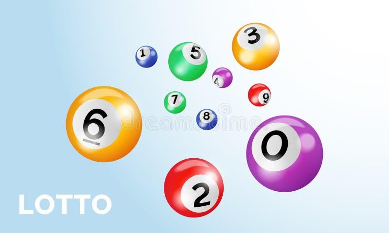 Las bolas de la loteria del bingo con los números para la lotería del keno juegan el fondo de la plantilla del cartel del vector  stock de ilustración