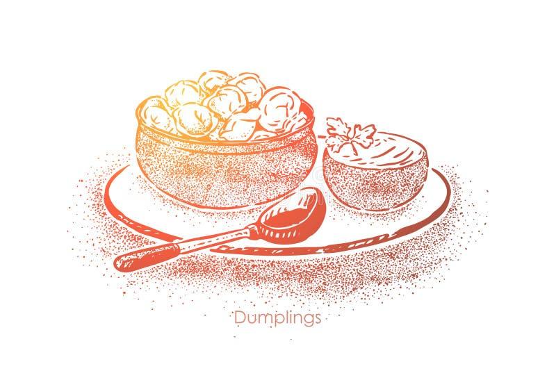 Las bolas de masa hervida ruedan con la crema agria, pasta con el relleno de la carne, cocina nacional, almuerzo hecho en casa, d ilustración del vector