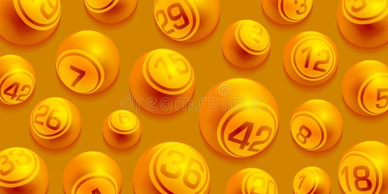 Las bolas de oro del número del bingo/de la lotería del vector fijaron aislado stock de ilustración
