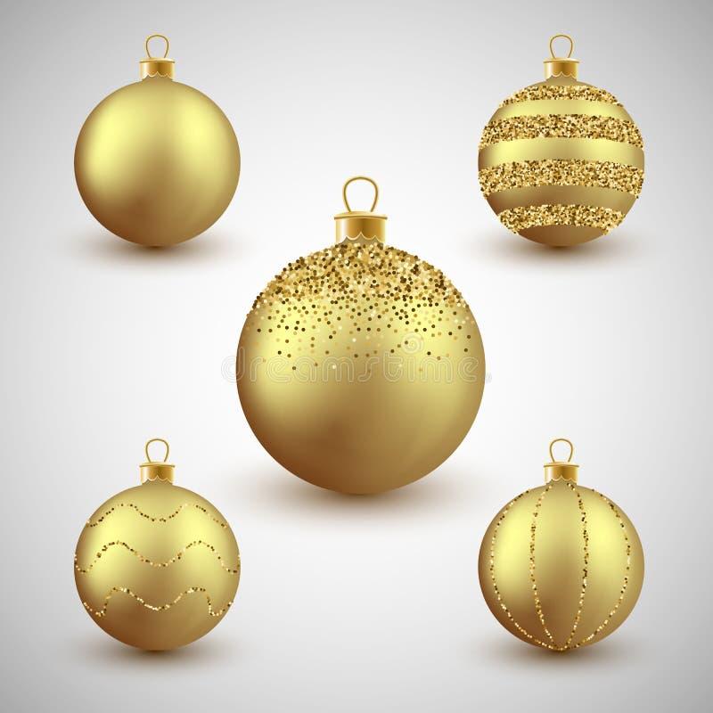Las bolas decorativas del brillo del oro de la Navidad fijan, vector el ejemplo libre illustration