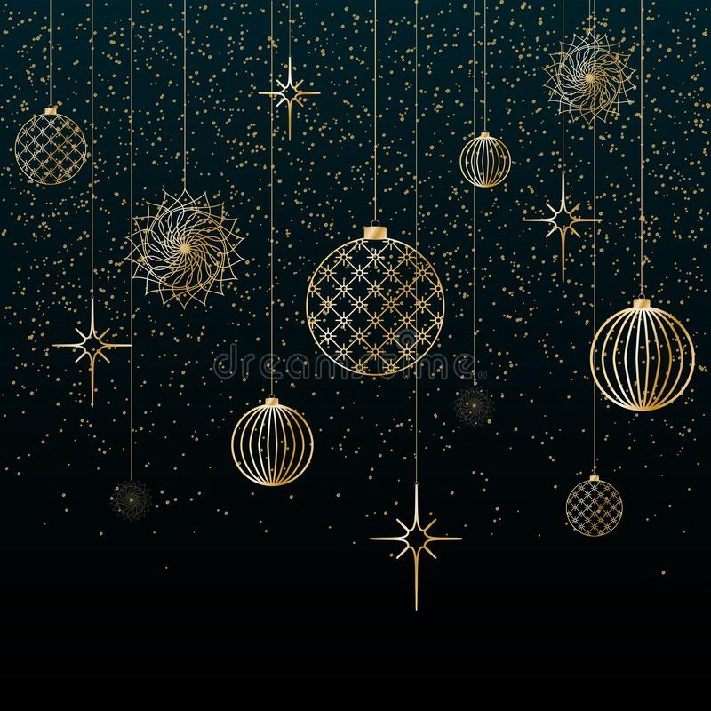 Las bolas del oro del fondo de la Navidad juegan las estrellas que los copos de nieve brillan en un fondo festivo del fondo azul  libre illustration