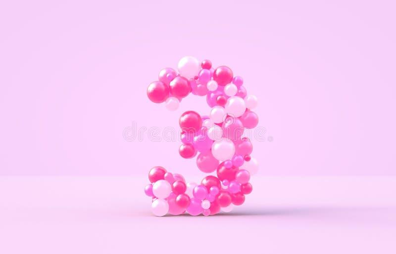 Las bolas rosadas dulces del caramelo numeran 3 3D rinden la fuente brillante en fondo aislado ilustración del vector