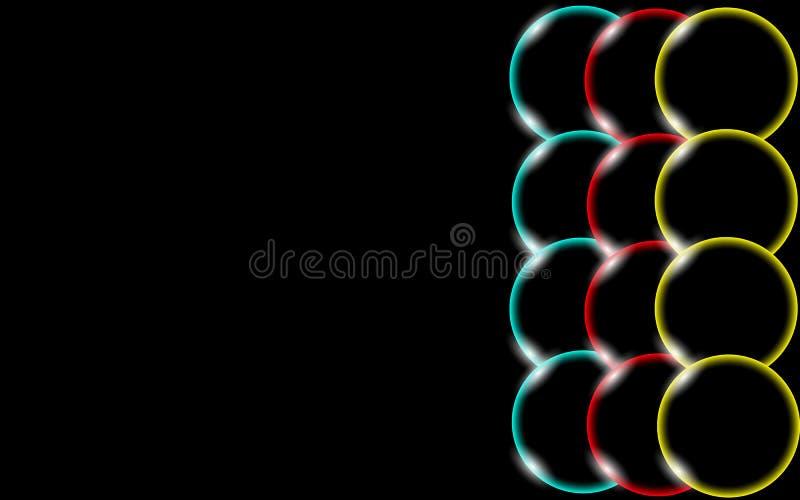 Las bolas simples sólidas hermosas y convexas brillantes abstractas transparentes multicoloras, burbujas, huevo circundan con el  ilustración del vector