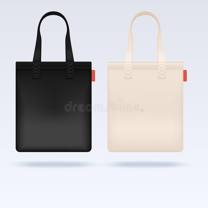 Las bolsas de asas blancas y negras del paño de la tela vector la maqueta ilustración del vector