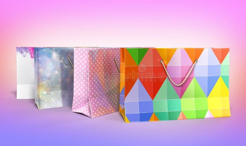 Las bolsas de papel 3d de Coloder rinden en fondo de la pendiente ilustración del vector