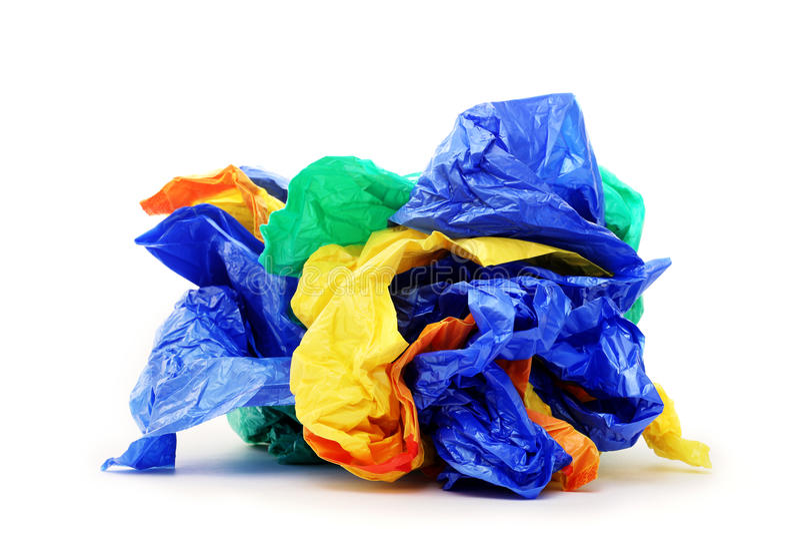 Las bolsas de plástico en un fondo blanco imágenes de archivo libres de regalías