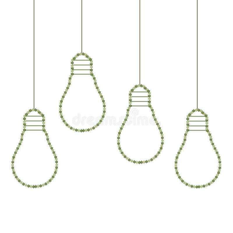 Las bombillas coloridas hechas de flores, piensan concepto verde libre illustration