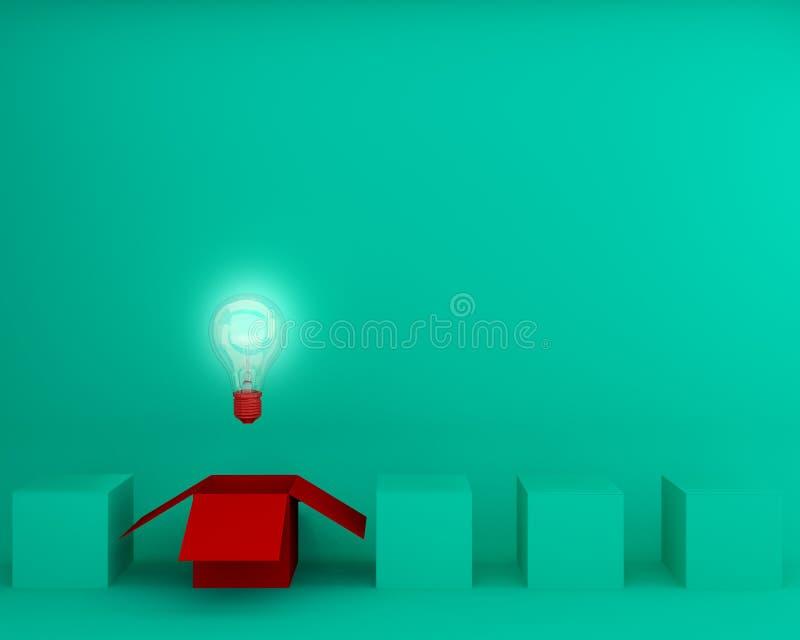 Las bombillas rojas que brillan intensamente la diversa idea creativa piensan el outsid libre illustration