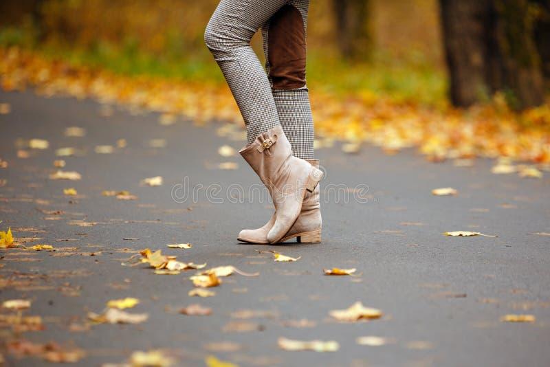 Las botas beige del ` s de las mujeres en el camino del otoño con amarillo se van en aut foto de archivo libre de regalías