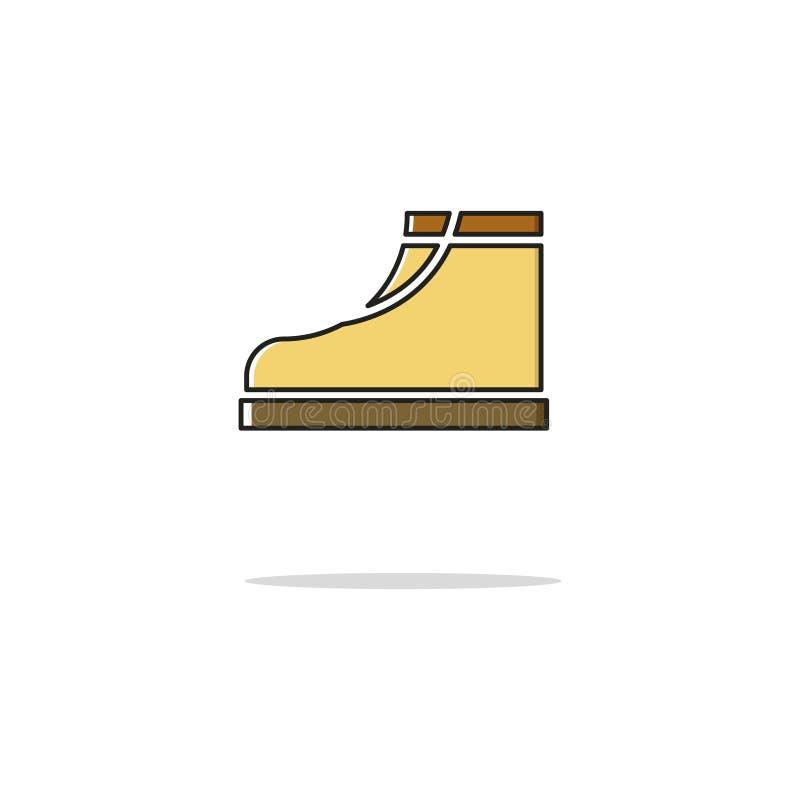 Las botas colorean la línea fina icono Ilustración del vector imágenes de archivo libres de regalías