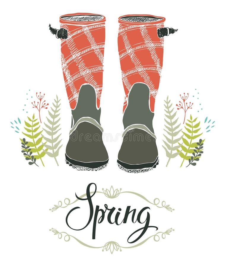 Las botas de lluvia y el bosque de la primavera se chiban, diseñan la tarjeta ilustración del vector