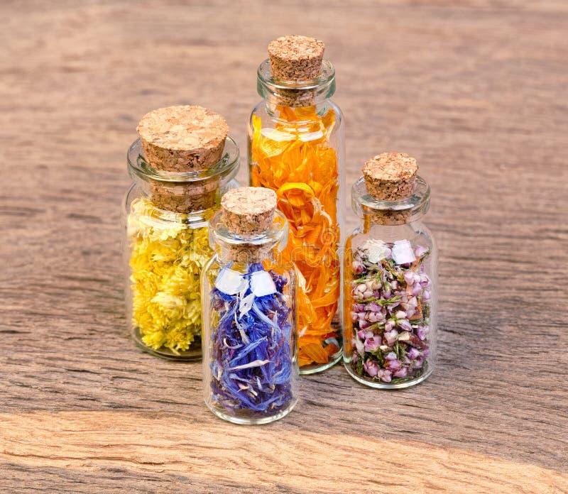 Las botellas con las hierbas usadas en medicina tradicional no están en el wo fotos de archivo libres de regalías