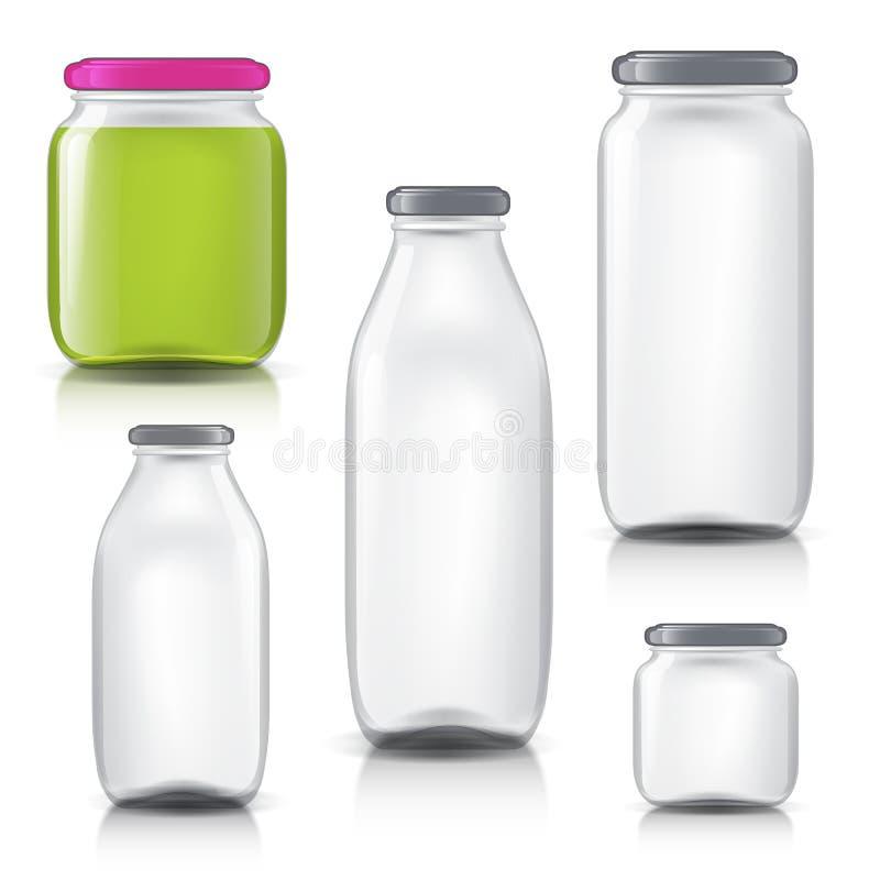 Las botellas de cristal vacian el sistema transparente Plantilla de los tarros de cristal Jugo del banco, atasco, líquidos ilustración del vector