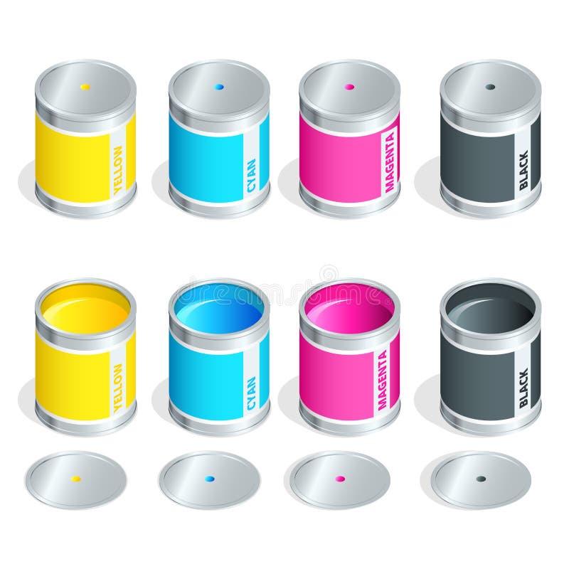Las botellas de tinta en colores del cmyk en blanco aislaron el fondo Ejemplo isométrico del vector plano 3d ilustración del vector