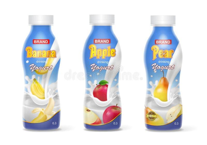Las botellas del yogur fijaron con las frutas plátano, manzana, pera Colecci?n realista libre illustration