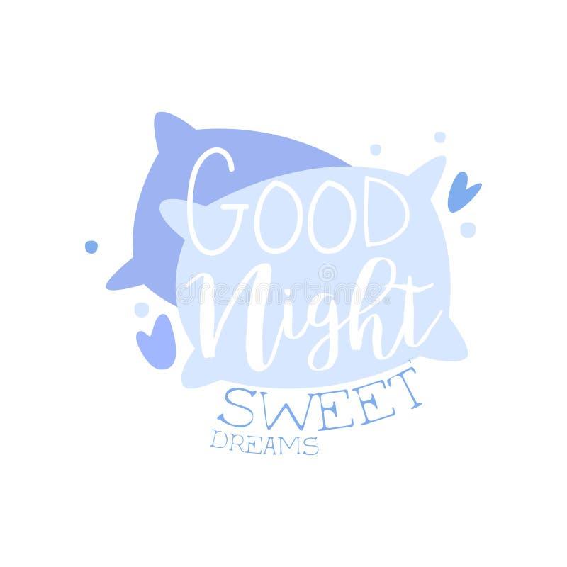 Las buenas noches, sueños dulces, cita positiva, mano wriiten poniendo letras al ejemplo de motivación del vector del lema en un  ilustración del vector
