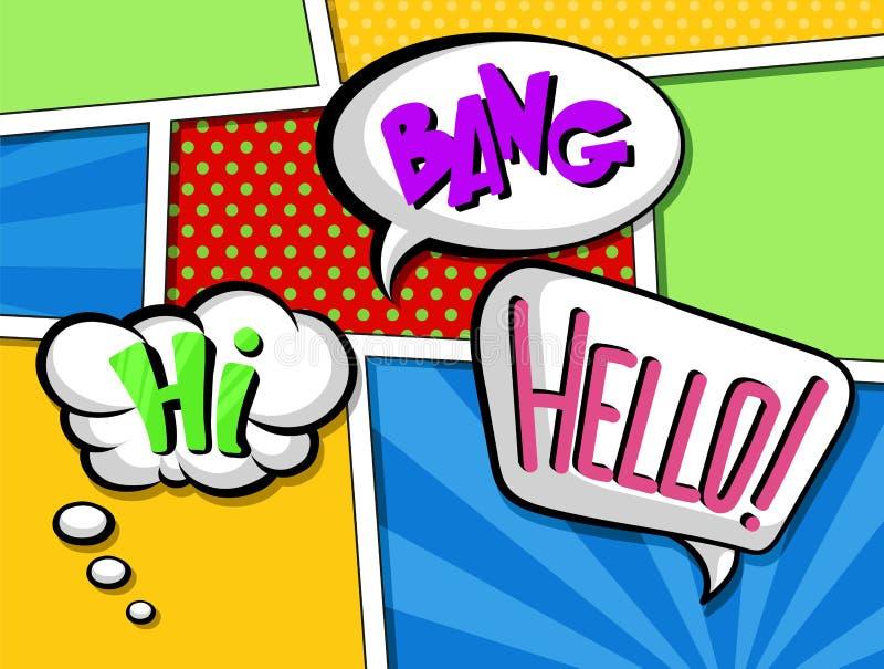 Las burbujas cómicas del discurso con el sistema del texto, los efectos sonoros de la historieta colorida vector ejemplos en esti stock de ilustración