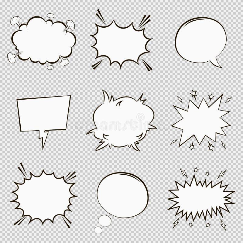 Las burbujas cómicas del discurso fijaron Elementos vacíos del diálogo de la historieta en estilo del arte pop Vector libre illustration