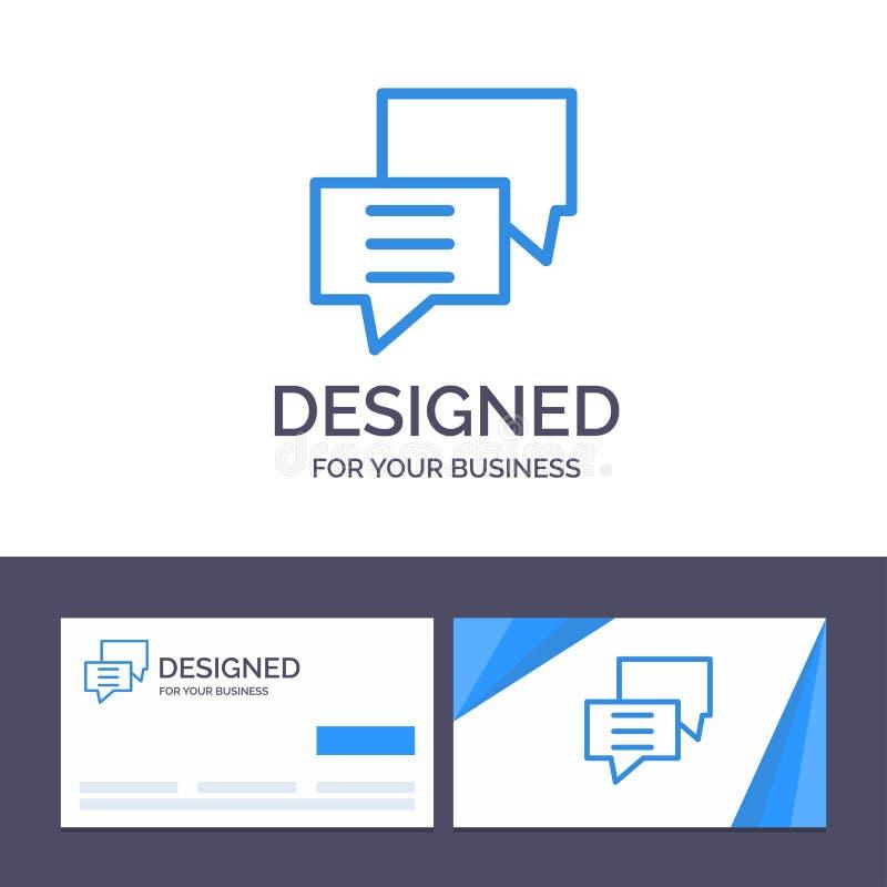 Las burbujas de visita de la plantilla creativa de la tarjeta y del logotipo, charla, cliente, discuten, agrupan el ejemplo del v stock de ilustración