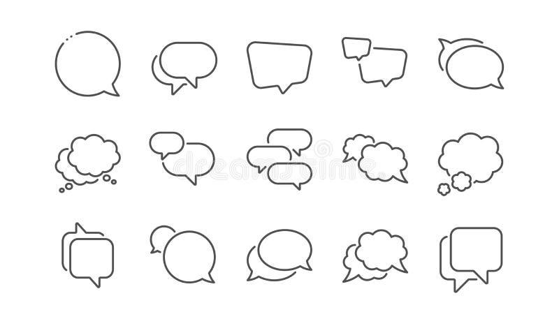 Las burbujas del discurso alinean iconos Mensaje social de los medios, burbujas cómicas y charla Sistema linear Vector ilustración del vector