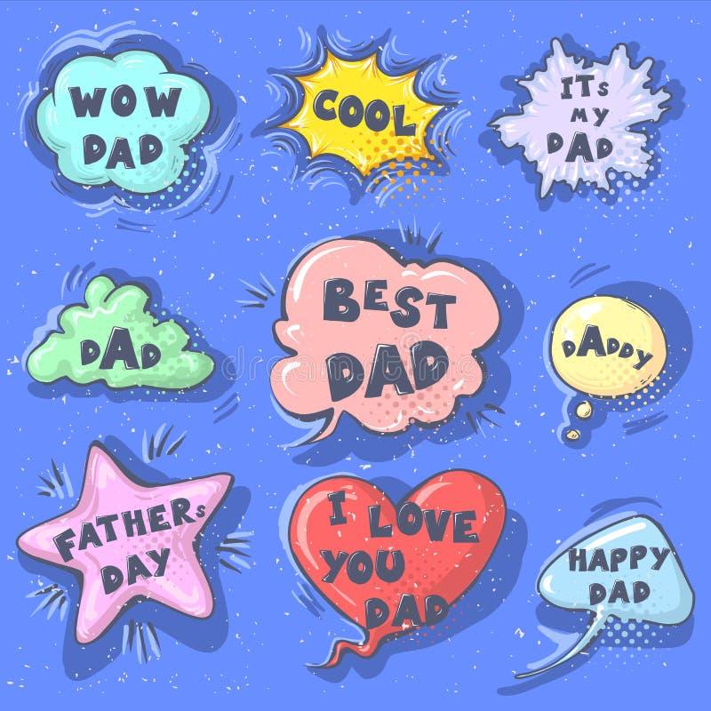 Las burbujas felices del discurso del saludo de la caligrafía de las letras de día del padre s fijaron aislado en el bluebackgrou libre illustration