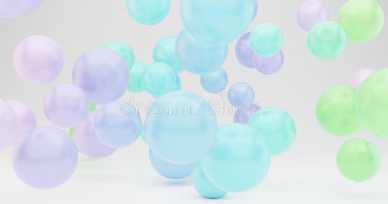 Las burbujas que vuelan 3d abstracto rinden el diseño del cartel, colores temáticos del verano ilustración del vector