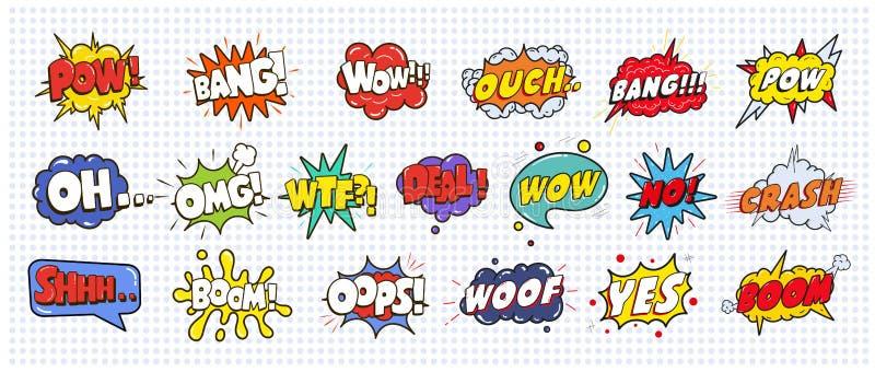Las burbujas sanas cómicas del efecto del discurso fijaron en el ejemplo blanco del fondo Guau, prisionero de guerra, explosión,  ilustración del vector
