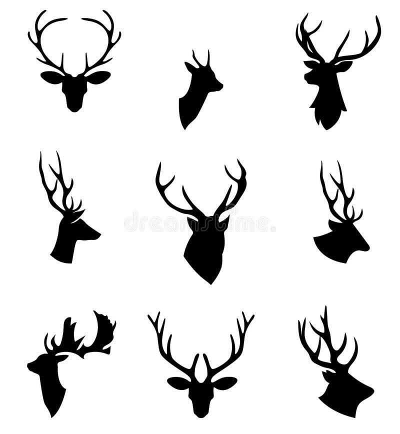 Las cabezas de los animales Cabeza de los ciervos stock de ilustración