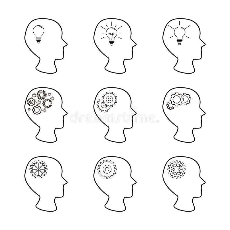 Las cabezas y los engranajes fijaron, colección de cabezas humanas con el mecanismo dentro, sistema de iconos creativos de las id libre illustration