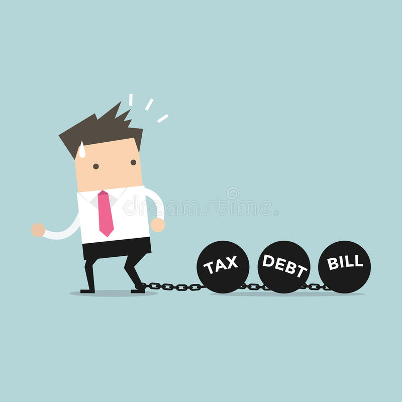 Las cadenas de fricción del hombre de negocios y la bola grande, el impuesto de la deuda y Bill cargan concepto ilustración del vector