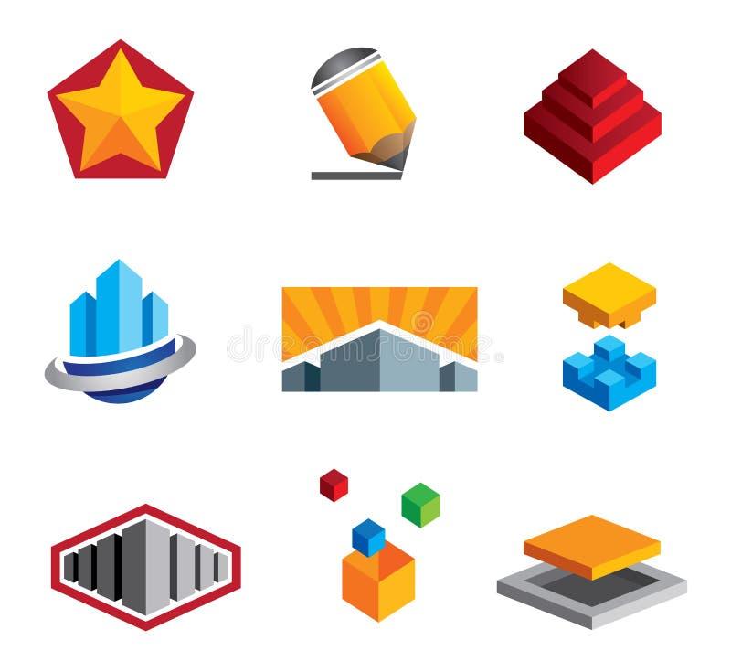 Las cajas creativas desconciertan la construcción de pequeño a las propiedades inmobiliarias grandes ilustración del vector