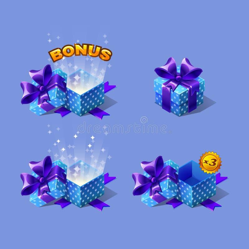Las cajas de regalo isométricas coloridas de la historieta azul fijaron con prima ilustración del vector