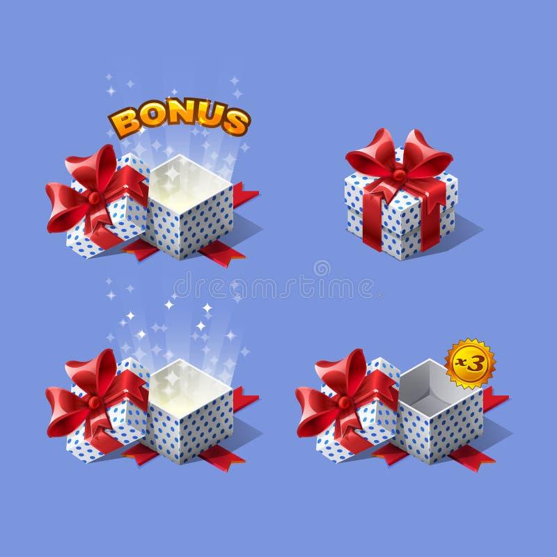Las cajas de regalo isométricas coloridas de la historieta divertida fijaron con prima libre illustration