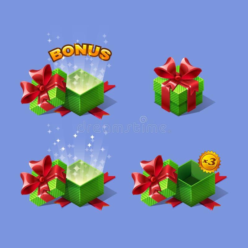 Las cajas de regalo isométricas coloridas de la historieta verde fijaron con prima libre illustration