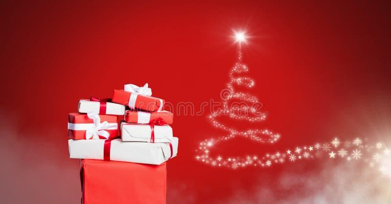 Las cajas de regalo y el árbol de navidad del copo de nieve modelan brillar intensamente de la forma libre illustration